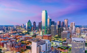 Dallas, Texas, USA downtown skyline at twilight viewed from above.