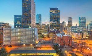 Denver, Colorado, USA downtown cityscape at twilight.