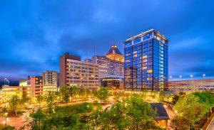Greensboro, North Carolina, USA downtown park and skyline.